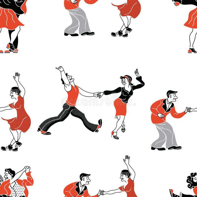 Folk för tappning för charlestonpartidans på w vektor illustrationer