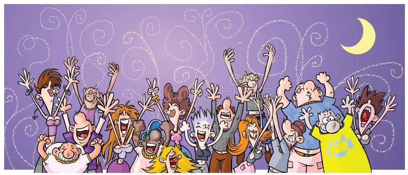 Folk för tecknad filmnattparti. royaltyfri illustrationer