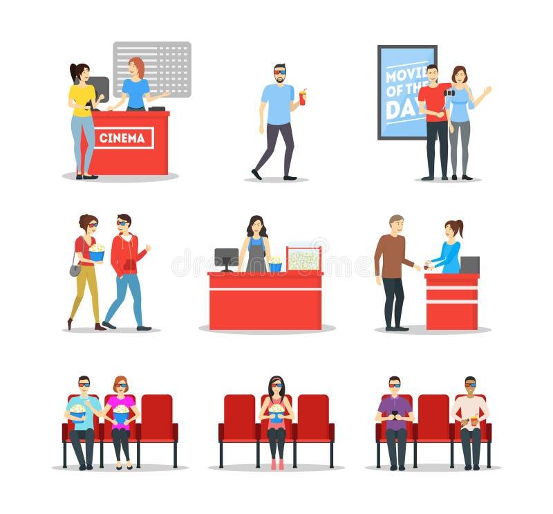 Folk för tecknad filmtecken i bioteateruppsättning vektor stock illustrationer