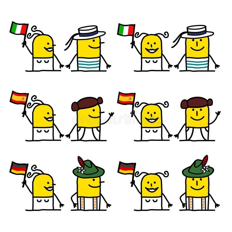 folk för tecknad filmteckeneuropean vektor illustrationer
