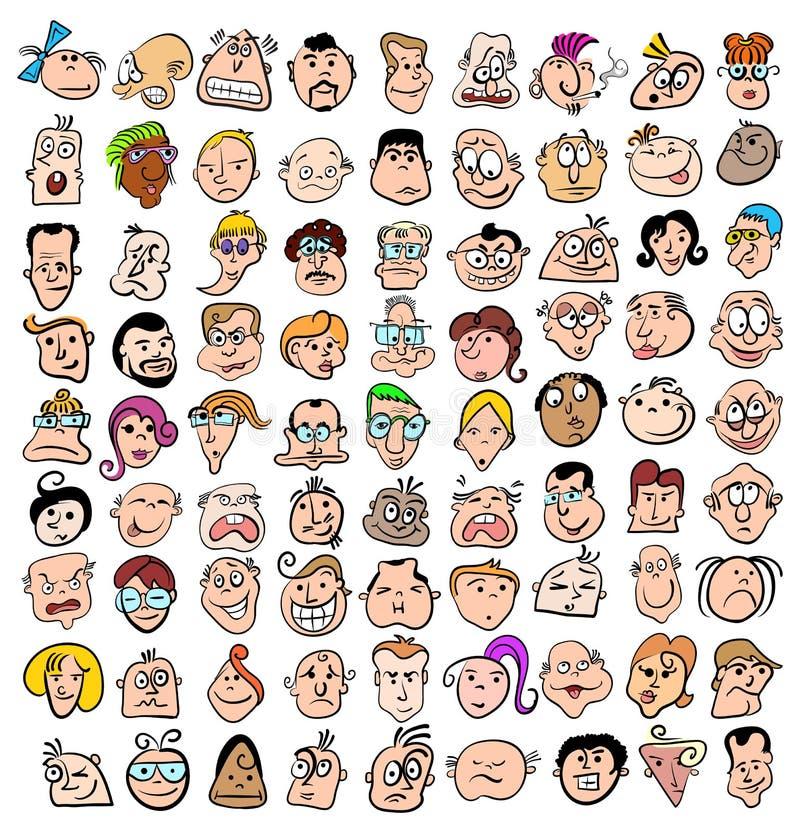 folk för tecknad filmuttrycksframsida vektor illustrationer