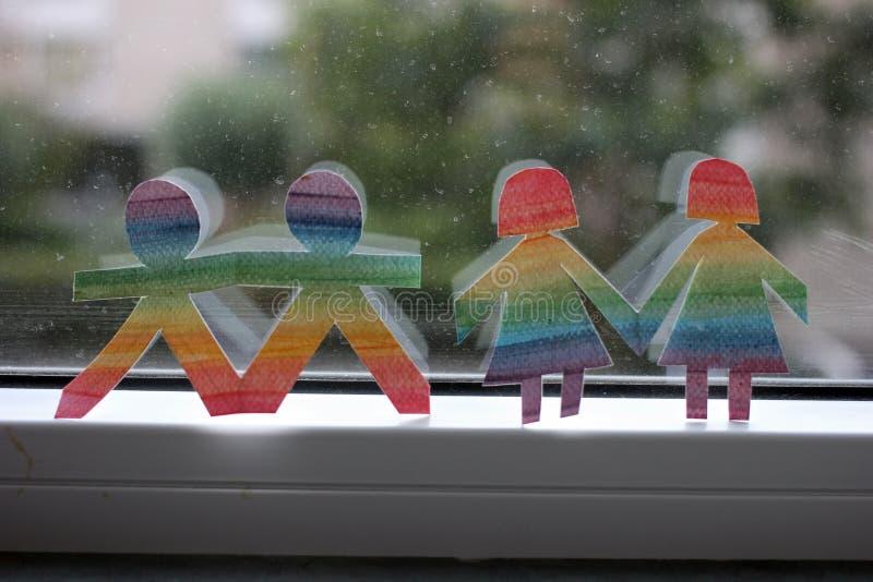 Folk för utklipp för LGBT-mångfald regnbåge olored royaltyfri bild