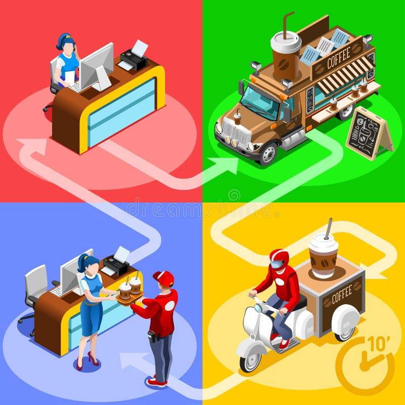 Folk för vektor för hem- leverans för kafé för matlastbilkaffe isometriskt stock illustrationer