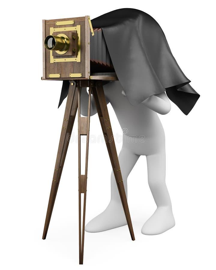 folk för white 3D. Fotograf med den retro kameran royaltyfri illustrationer