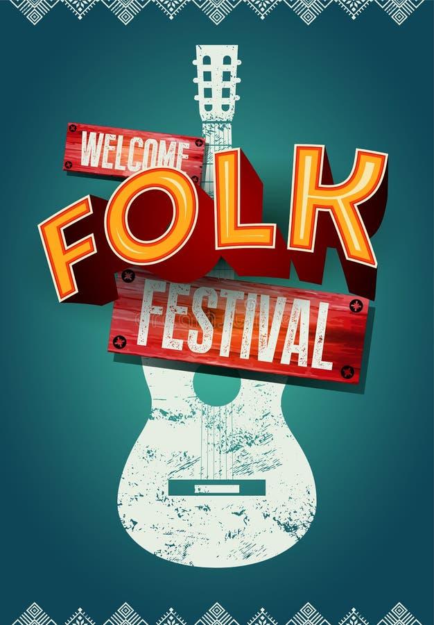 Folk festivalaffisch med form för akustisk gitarr också vektor för coreldrawillustration vektor illustrationer