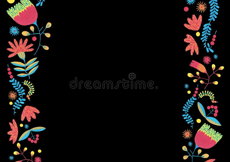 Ornate decor in ditsy style. Enchanted forest in fanciful fairy in a folk style. Folk floral border in minimal style with gouache flower elements on black royalty free illustration