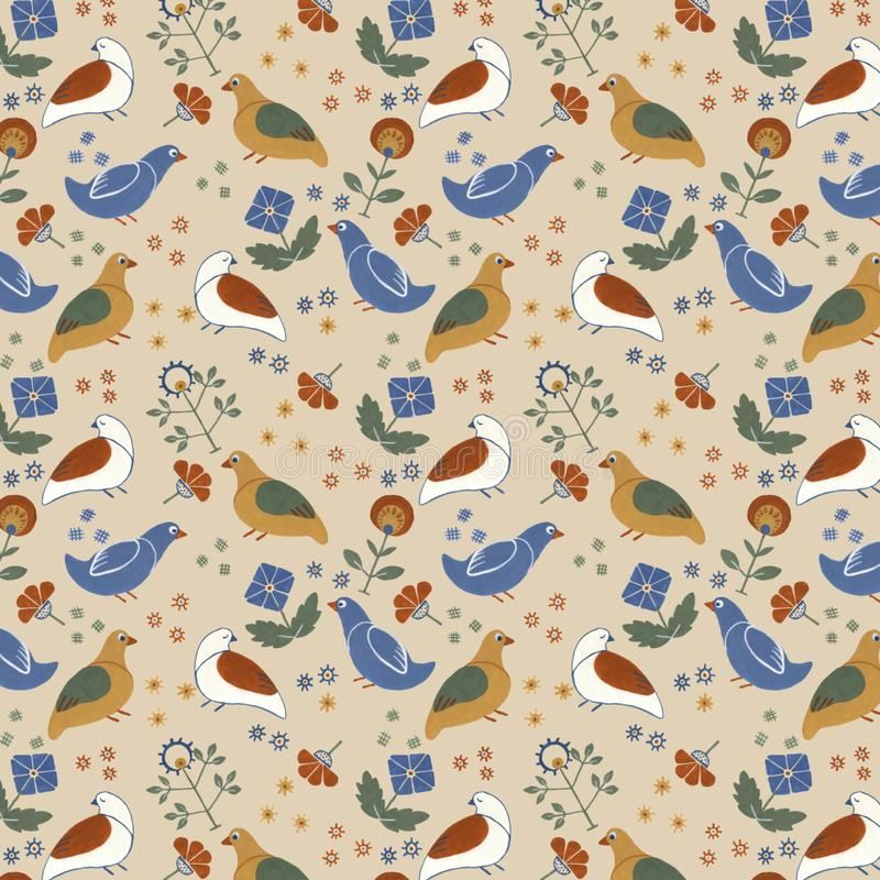 Folk floral seamless pattern with birds and flowers, gouache paint royalty free stock photo