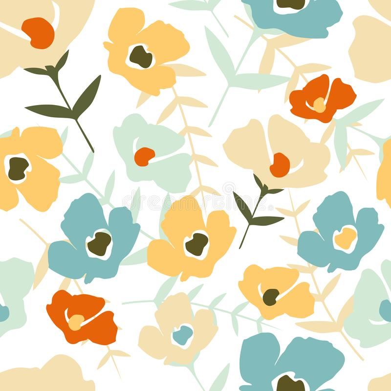 Folk floral seamless pattern on white background. Modern abstract little flowers and leaves stock illustration