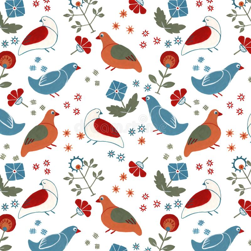 Folk floral seamless pattern wit birds stock illustration