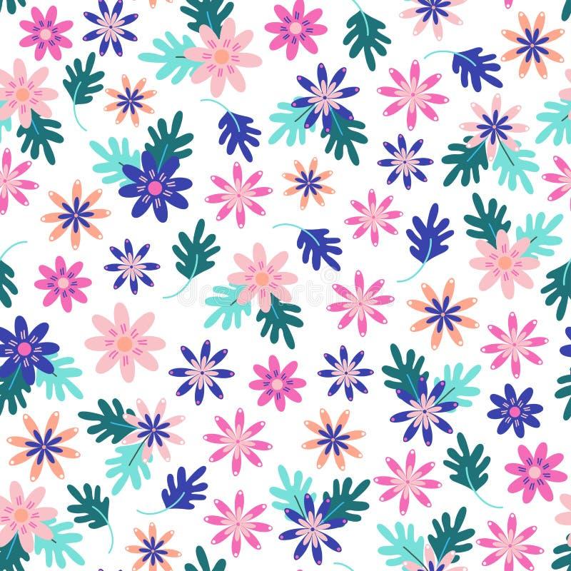 Seamless daisy floral pattern in scandinavian folk style vector. vector illustration