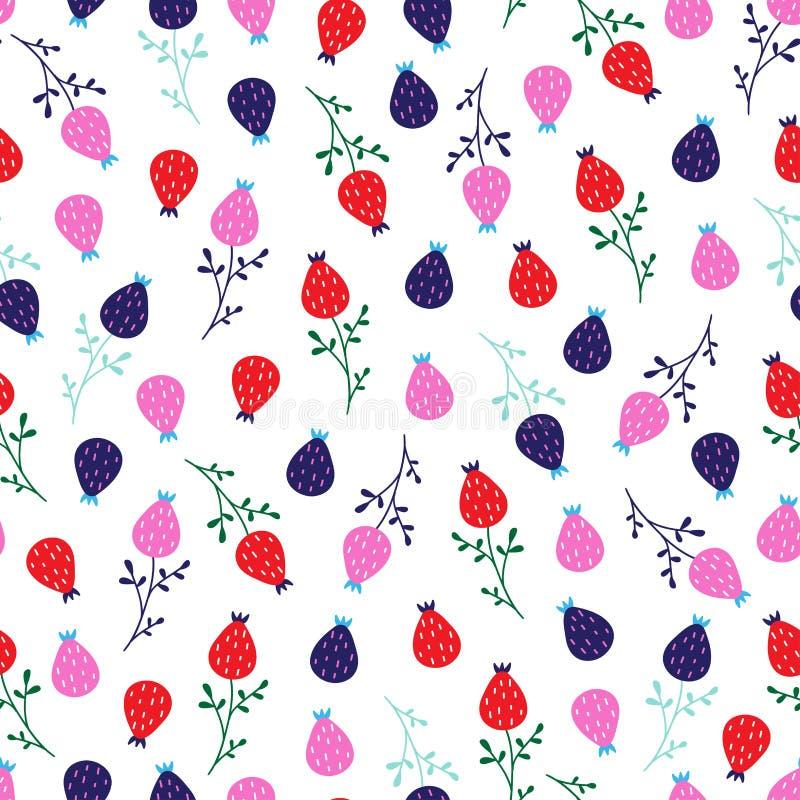Seamless cute little floral pattern in scandinavian folk style vector. vector illustration