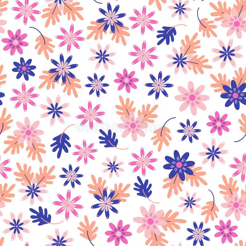 Seamless daisy floral pattern in scandinavian folk style vector. stock illustration