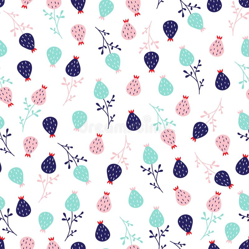 Seamless cute little floral pattern in scandinavian folk style vector. royalty free illustration