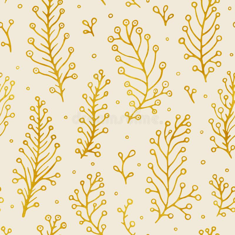Folk flowers vintage raster seamless pattern. Ethnic floral motif beige hand drawn background. Contour golden royalty free illustration