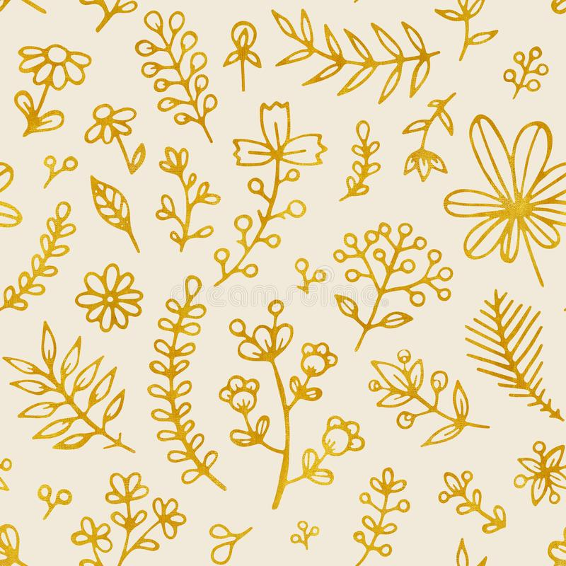 Folk flowers vintage raster seamless pattern. Ethnic floral motif beige hand drawn background. Contour golden stock illustration