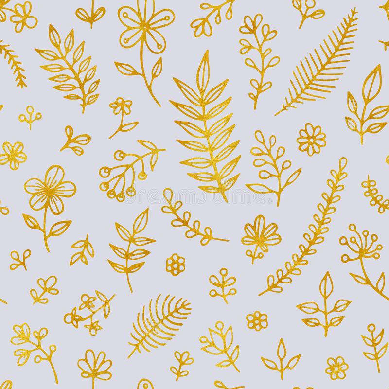 Folk flowers vintage raster seamless pattern. Ethnic floral motif blue hand drawn background. Contour golden vector illustration