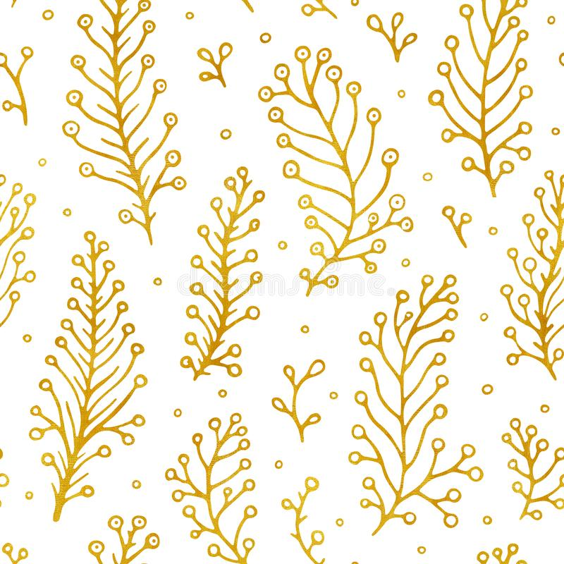 Folk flowers vintage raster seamless pattern. Ethnic floral motif white hand drawn background. Contour golden stock illustration