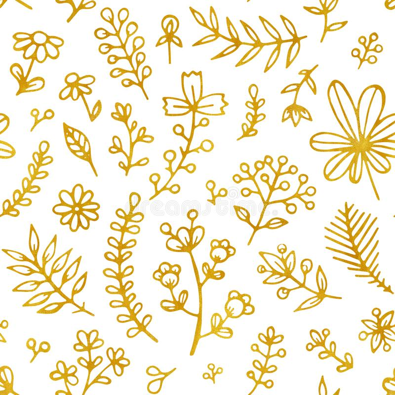 Folk flowers vintage raster seamless pattern. Ethnic floral motif white hand drawn background. Contour golden royalty free illustration