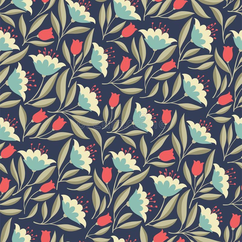 Folk Flowers vintage seamless pattern stock illustration