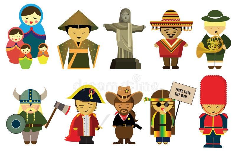 Folk från hela världen i deras nationella kläder royaltyfri illustrationer
