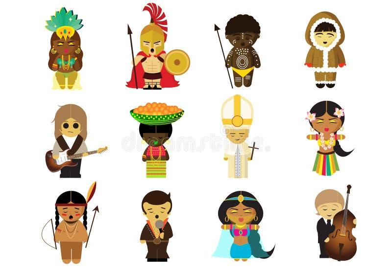 Folk från lite varstans världen i deras nationella kläder royaltyfri illustrationer