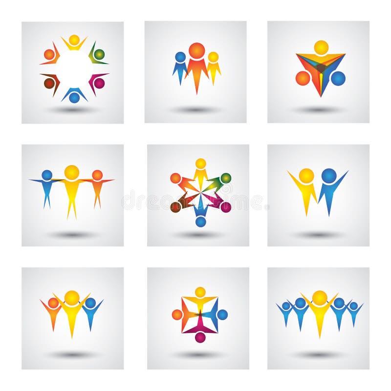 Folk, gemenskap, ungevektorsymboler och designbeståndsdelar royaltyfri illustrationer