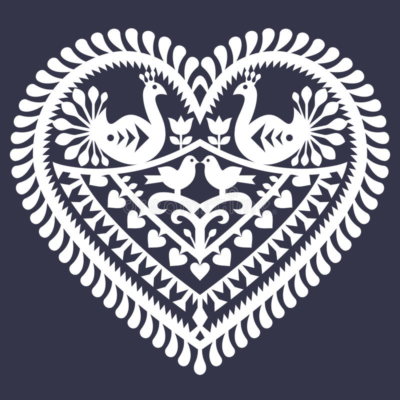 Folk heart pattern for Valentine's Day - Wycinanki Kurpiowskie (Kurpie Papercuts). Vector white folk design from the region of Kurpie in Poland - love concept on stock illustration