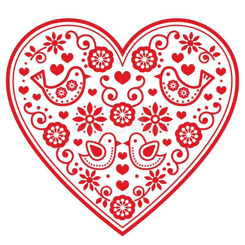Free Folk Heart Pattern With Flowers And Birds - Valentine`s Day, Wedding, Birthday Greeting Card Stock Photo - 99879290