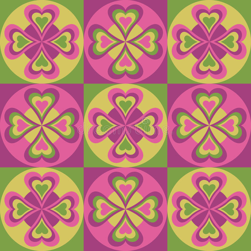 Folk Hearts In Pink And Green Stock Photo