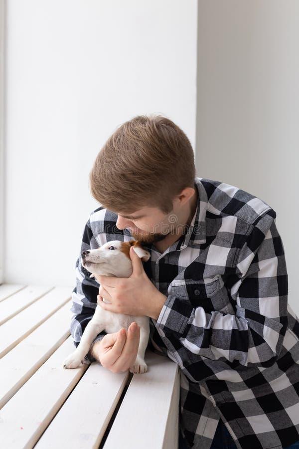 Folk-, husdjur- och djurbegrepp - ung man som kramar valpen för stålarrussell terrier nära fönster på vit bakgrund arkivbilder
