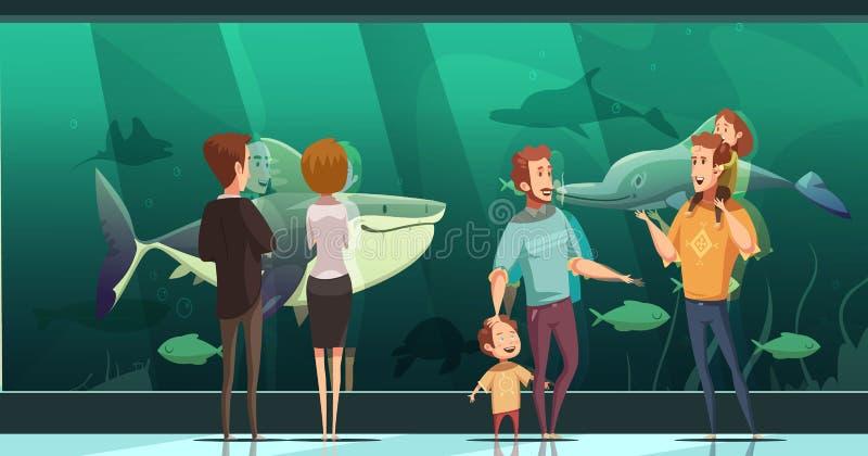 Folk i akvariumdesignsammansättning vektor illustrationer