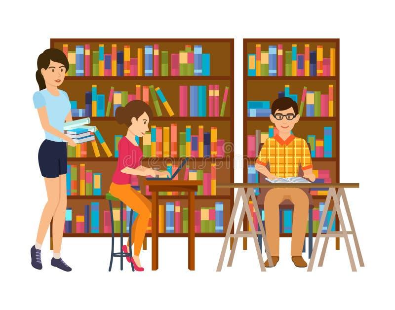 Folk i arkiv och att söka efter information som arbetar med material, litteratur royaltyfri illustrationer