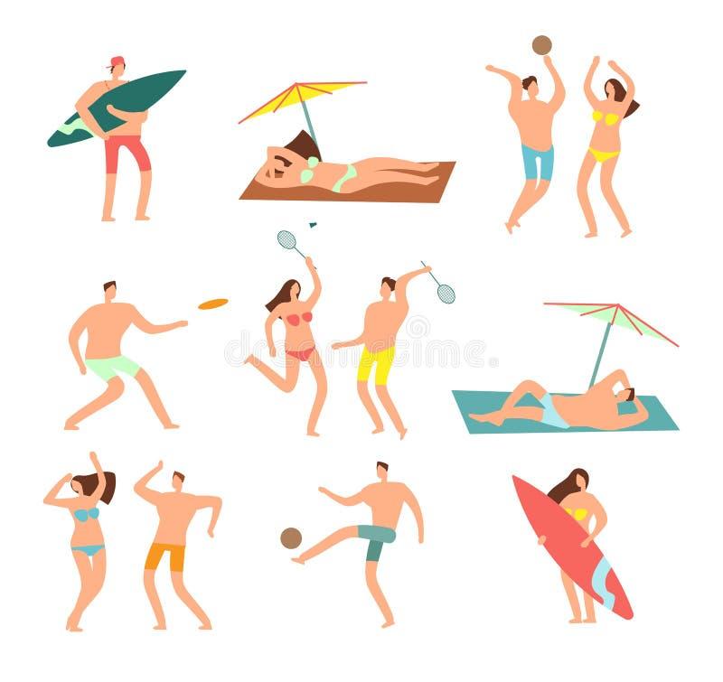 Folk i baddräkter i havsstrandvecation Avslappnande kvinna- och manvektortecken royaltyfri illustrationer