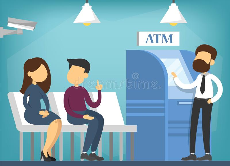 Folk i banken som väntar i kö betalning royaltyfri illustrationer