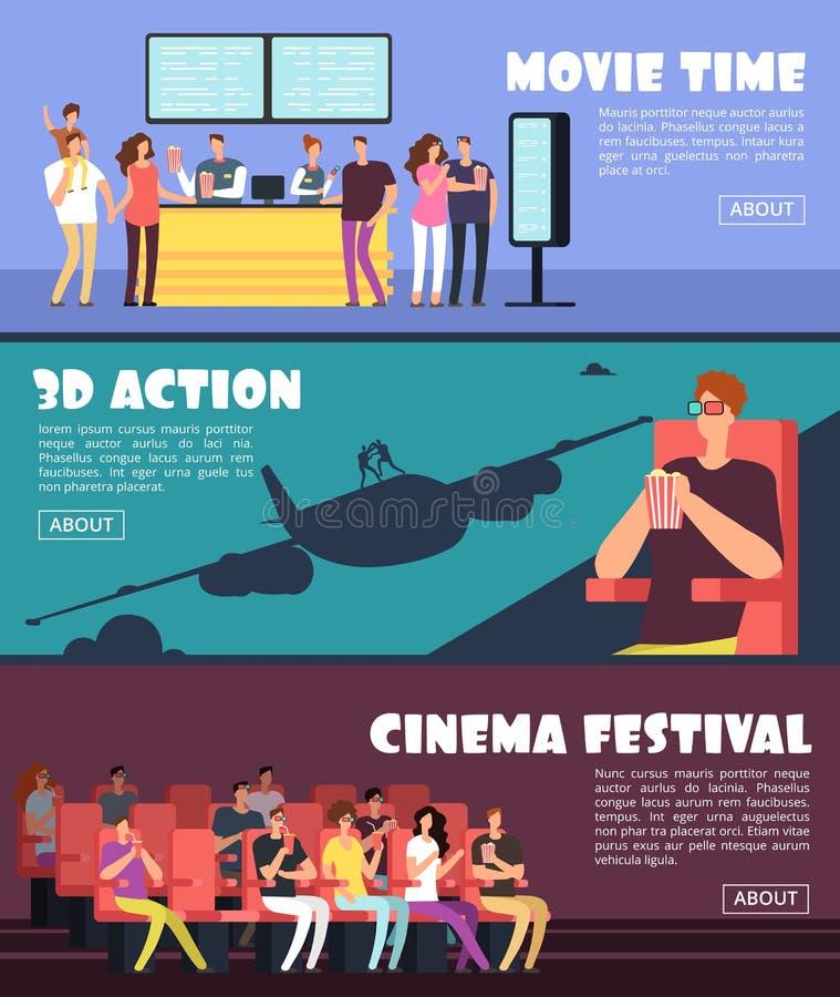 Folk i bio, filmhorisontalbaner Familjen och par daterar på vektorbegreppet för teatern 3d royaltyfri illustrationer