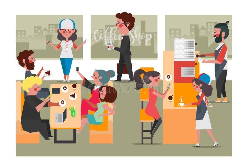 Folk i coffee shop, stil för lägenhet för tecknad filmteckendesign arkivbild