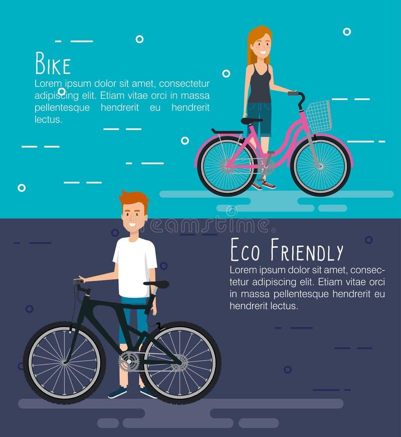 Folk i cykel med ecovänskapsmatchsymboler royaltyfri illustrationer