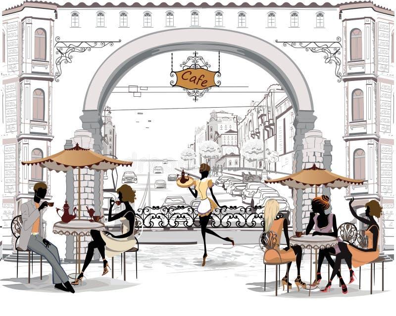 Folk i den gamla staden stock illustrationer
