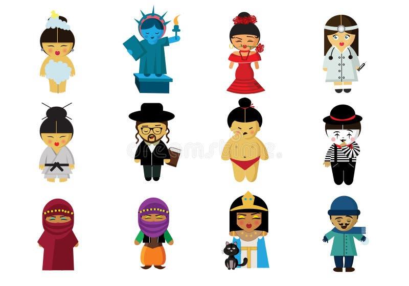 Folk i deras kläder från lite varstans världen royaltyfri illustrationer