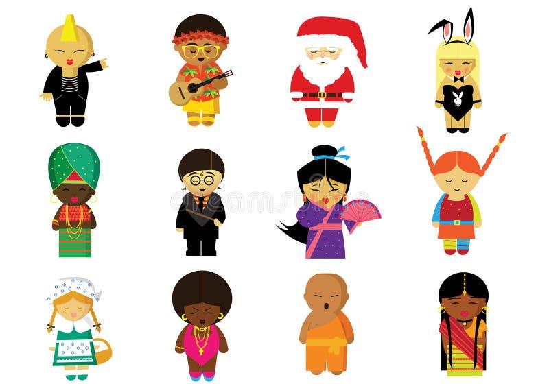Folk i deras medborgare och roliga kläder från hela världen stock illustrationer