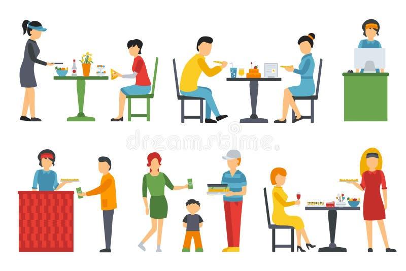 Folk i en plan inre Denna är mappen av formatet EPS8 Kassörska bud, kunder, bistroer, uppassare, leverans pizzeria stock illustrationer