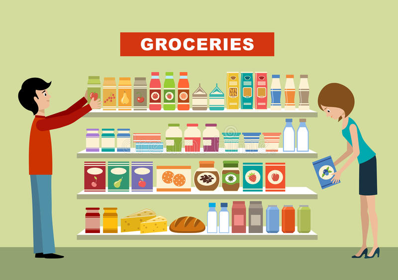 Folk i en supermarket livsmedel stock illustrationer