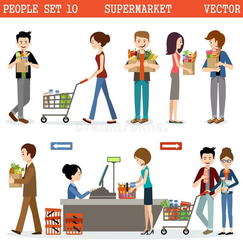 Folk i en supermarket med köp royaltyfri illustrationer