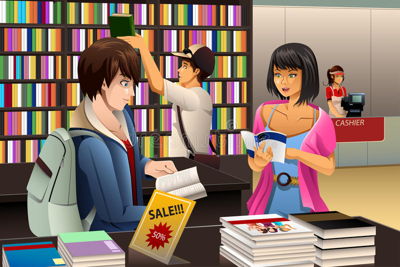 Folk i ett boklager royaltyfri illustrationer