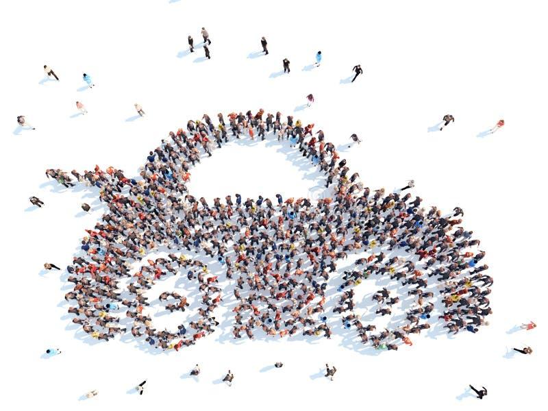 Folk i form av en bil vektor illustrationer