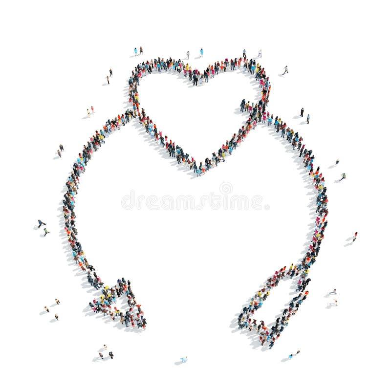Folk i formen av hjärta stock illustrationer