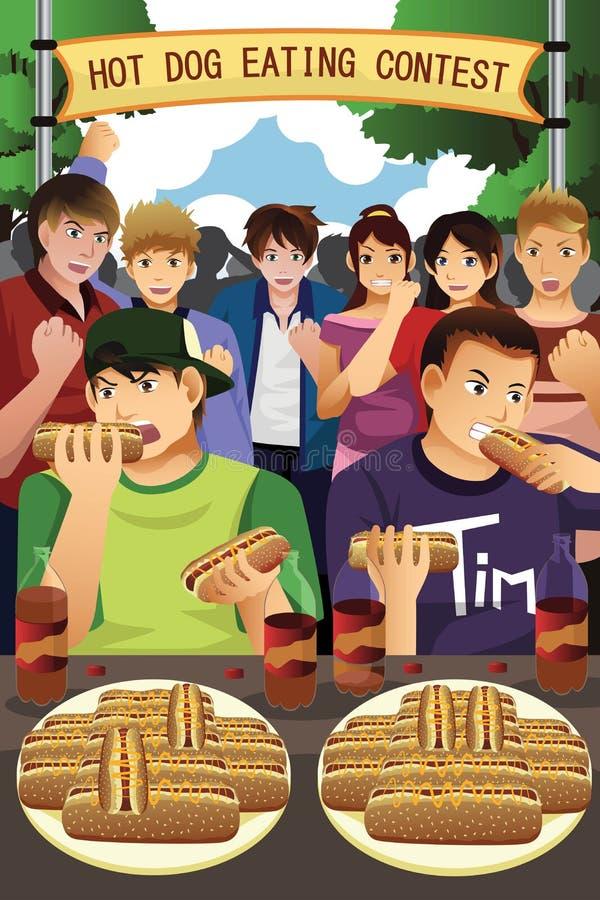 Folk i hotdog som äter strid royaltyfri illustrationer