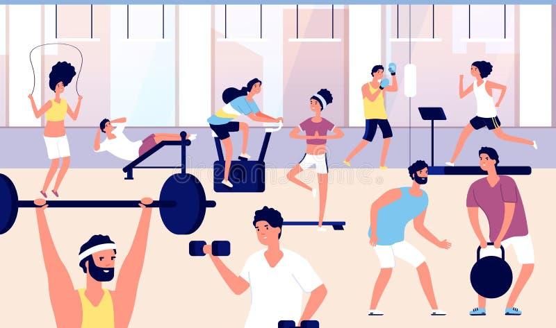 Folk i idrottshall Idrottsman nengrupp som gör konditionövning, cardio utbildning och att lyfta för vikt i idrottshall Sportlivss vektor illustrationer