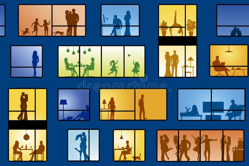 Folk i lägenheter vektor illustrationer