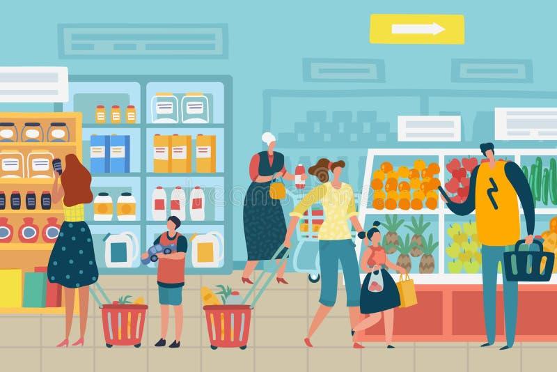 Folk i lager Kunden väljer vagnen för matsupermarketfamiljen som shoppar begrepp för livsmedelsbutik för produktsortiment inre stock illustrationer